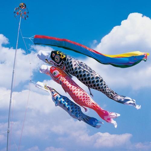 鯉のぼり こいのぼり 錦鯉 羽衣錦鯉 8m 6点 3色 鯉3匹 五色吹流し 大型セット
