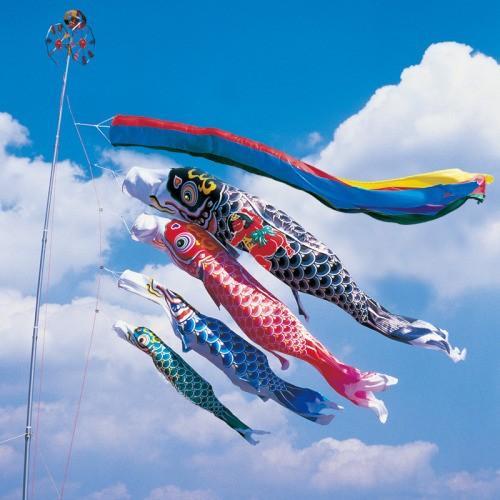 鯉のぼり こいのぼり 錦鯉 羽衣錦鯉 7m 7点 4色 鯉4匹 金太郎付 五色吹流し 大型セット
