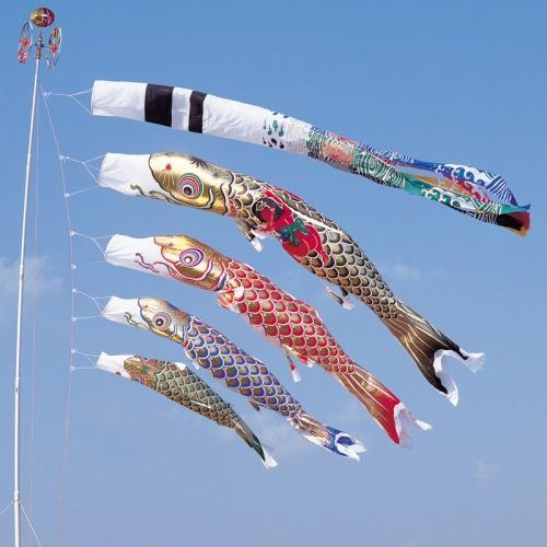 鯉のぼり こいのぼり 錦鯉 黄金錦鯉 8m 7点 4色 鯉4匹 金太郎付 黄金飛龍吹流し 大型セット