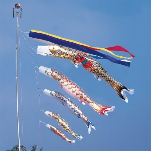 鯉のぼり こいのぼり 錦鯉 黄金錦鯉 8m 8点 5色 鯉5匹 金太郎付 五色吹流し 大型セット