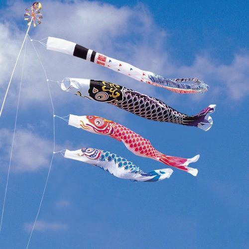 鯉のぼり こいのぼり 錦鯉 綾錦鯉 5m 6点 3色 鯉3匹 浪千鳥吹流し 大型セット