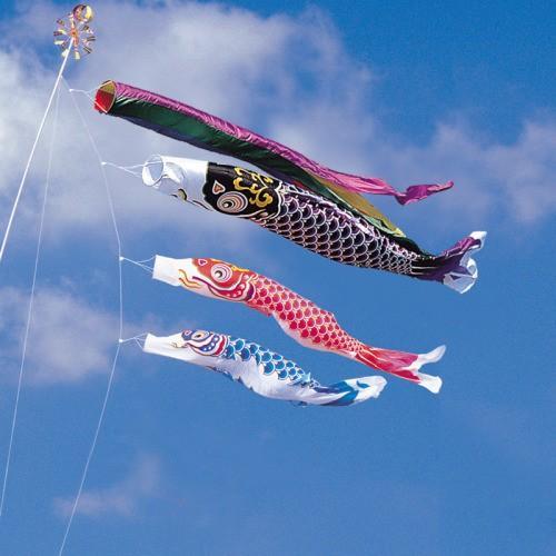 鯉のぼり こいのぼり 錦鯉 綾錦鯉 10m 6点 3色 鯉3匹 五色吹流し 大型セット