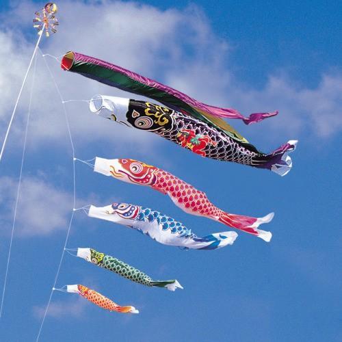 鯉のぼり こいのぼり 錦鯉 綾錦鯉 6m 8点 5色 鯉5匹 金太郎付 五色吹流し 大型セット