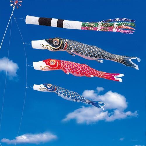 鯉のぼり こいのぼり 錦鯉 金寿鯉 3m 6点 3色 鯉3匹 スパン飛龍吹流し 大型セット