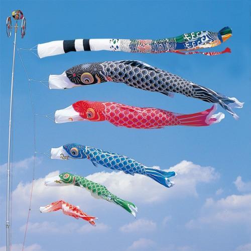 鯉のぼり こいのぼり 錦鯉 かなめ鯉 4m 8点 5色 鯉5匹 飛龍吹流し 大型セット