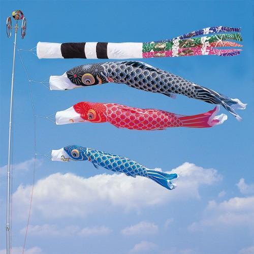 鯉のぼり こいのぼり 錦鯉 かなめ鯉 3m 6点 3色 鯉3匹 スパン飛龍吹流し 大型セット
