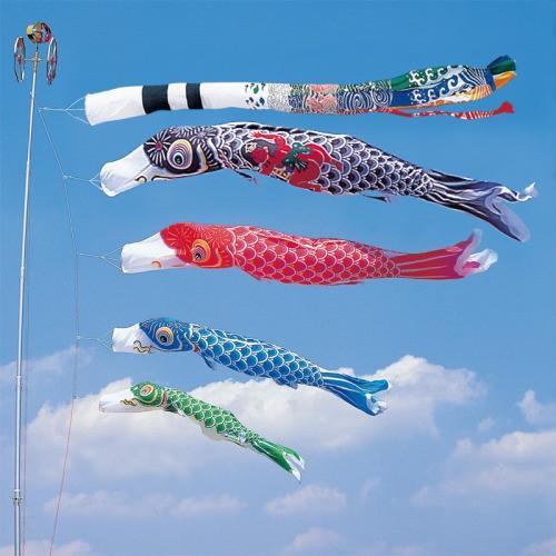 鯉のぼり こいのぼり 錦鯉 かなめ鯉 4m 7点 4色 鯉4匹 金太郎付 飛龍吹流し 大型セット