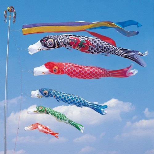 鯉のぼり こいのぼり 錦鯉 かなめ鯉 6m 8点 5色 鯉5匹 金太郎付 五色吹流し 大型セット