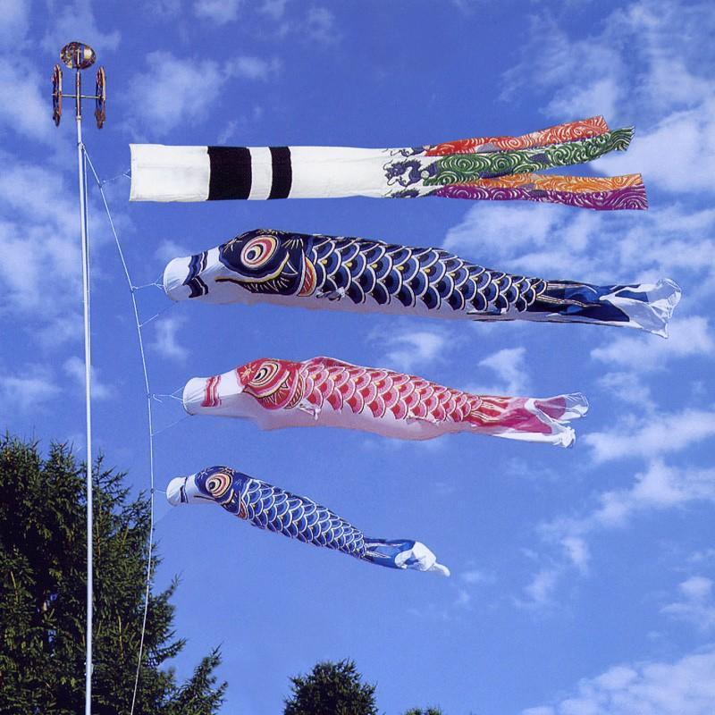 龍星 1.5m 6点 鯉3匹 ベランダタイプ 水袋 森景オリジナル鯉のぼりスタンドセット翔龍吹き流し