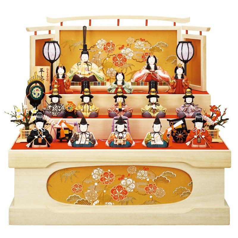 雛人形 一秀 木目込み 十五人飾り 三段飾り 収納飾り D-16