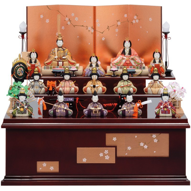 雛人形 一秀 木目込み 十五人飾り 三段飾り 収納飾り D-19