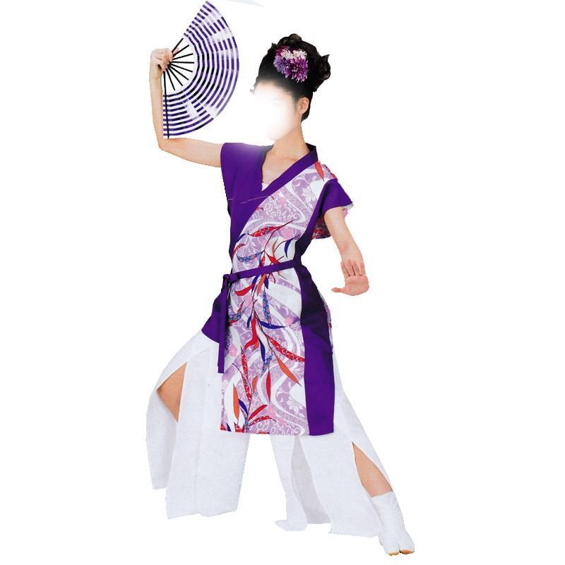 よさこい衣裳 袖なし打ち合わせ上衣 紫 花柄 C73021 よさこい 踊り衣裳 お祭用品 まつり用品 お祭り