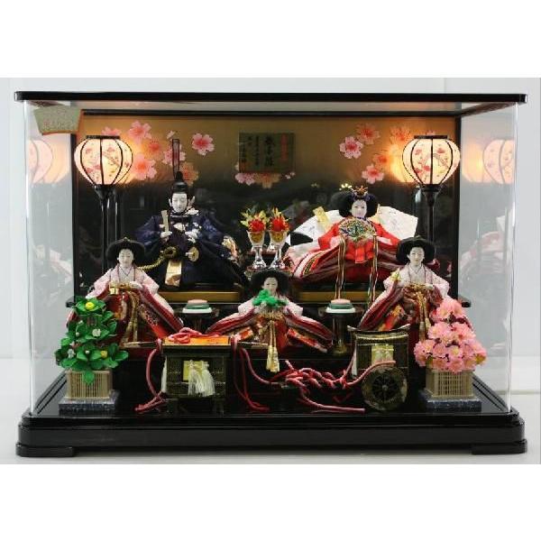 2019人気の 雛人形大三五5人金彩刺繍親王パノラマケース黒-季節玩具