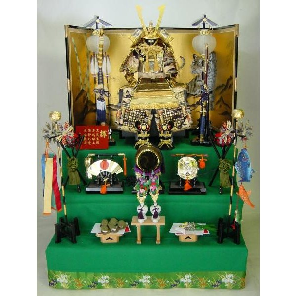 正絹輝大鎧彫金12号三段セット 五月人形三段飾り