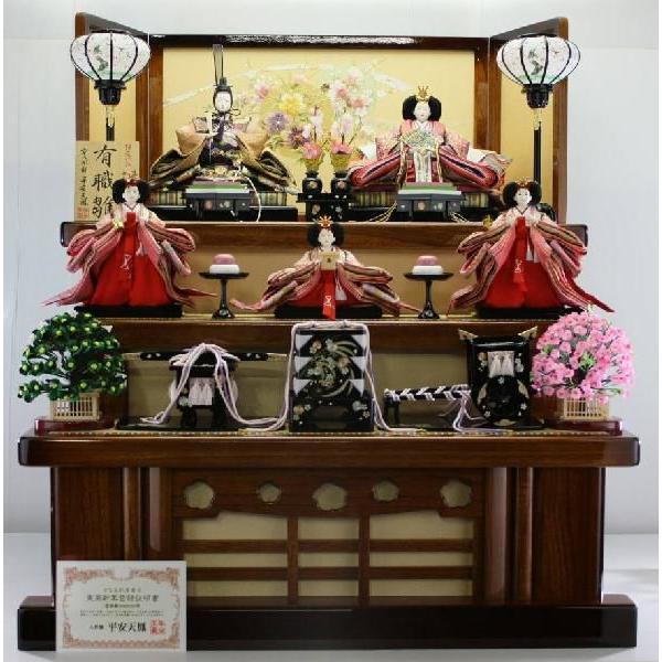 100正絹有職風織物正装殿衣装雛塗り桐畳付三段飾り