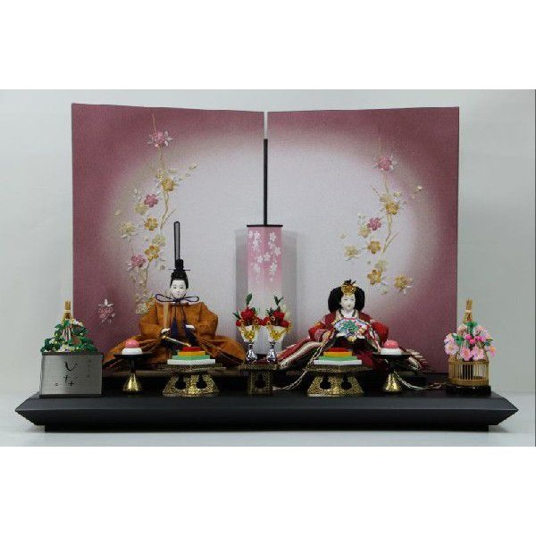 京三五正絹黄櫨染有職ひな人形桜刺繍紫ボカシ屏風平飾り