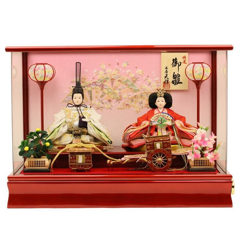 雛人形 ケース飾り ひな人形 コンパクト 親王飾り 衣装着ひな人形 「芥子親王雛 舞春雛」 アクリルケース入り ラインストーン玉櫛付き 2-3-2