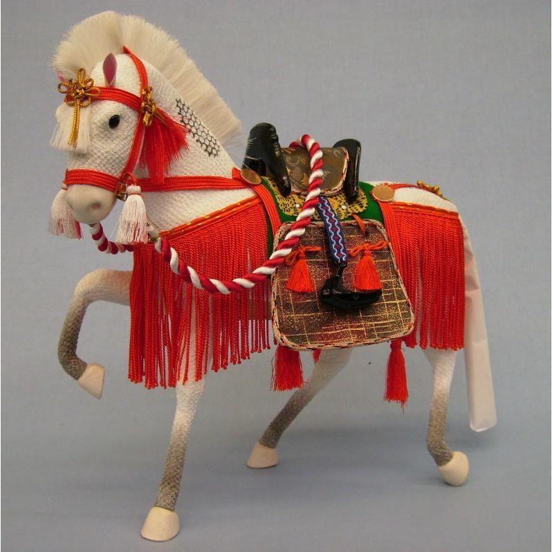 8号ちりめん飾り馬朱色(箱入り)