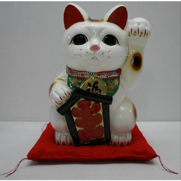 永遠の定番モデル 13号招き猫大入り白左手 座布団付 デポー