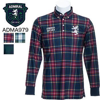 アドミラルゴルフ Admiral Golf タータンチェック 長袖ボタンダウンシャツ ADMA979 2019年秋冬モデル