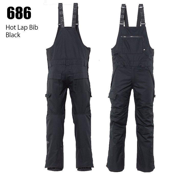686 シックスエイトシックス ウェア Hot Lap Bib 21-22 Black メンズ ビブ パンツ スノーボード ロクハチ