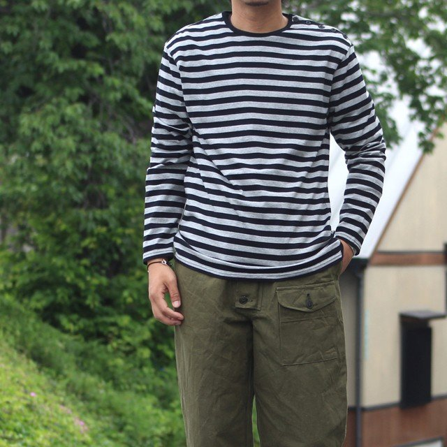 COLIMBO/コリンボ GLEN COVE STRIPED LONG-T Gray×Black|morleyclothing|05