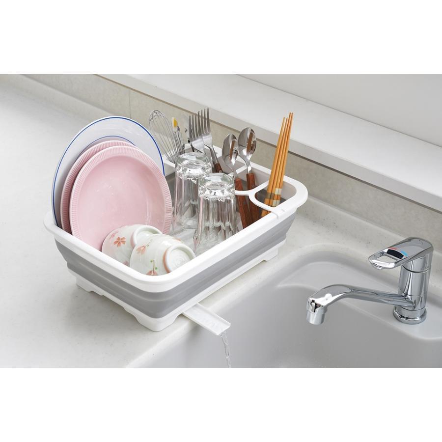 デイズ 折り畳み水切りバスケット&折り畳み洗い桶 キッチン計2点セット タマハシ 水まわり シンプル コンパクト シンク DAYS mos-mart 04