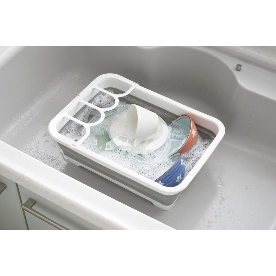 デイズ 折り畳み水切りバスケット&折り畳み洗い桶 キッチン計2点セット タマハシ 水まわり シンプル コンパクト シンク DAYS mos-mart 06