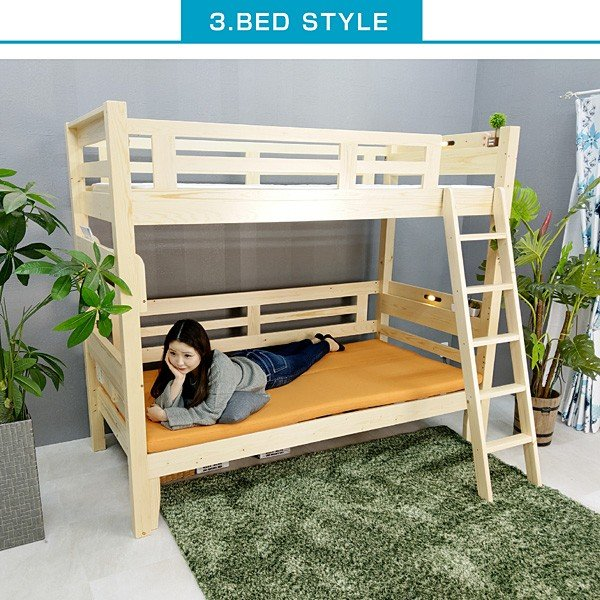 パームマット1枚付 耐荷重500kg 二段ベッド 2段ベッド ファインプレミアム-ARTエコ塗装 ソファ 木製 3WAY レイアウト自由 ロフトベッド ソファベッド|mote-kagu|06