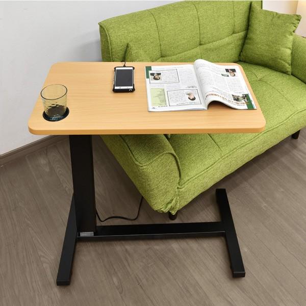 サイドテーブル おしゃれ レジェンド(コンセント・USB・カップホルダー付) -ART オーバーテーブル  ベッドテーブル  テレワーク デスク 在宅 勤務 昇降テーブル|mote-kagu|08
