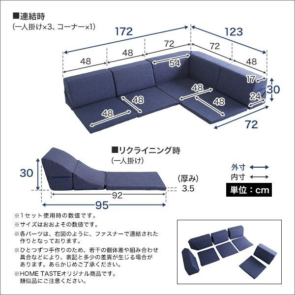 組み合わせ自由 日本製 コーナーローソファ フロアタイプ 【Linum-リナム- 2SET 】 mote-kagu 02