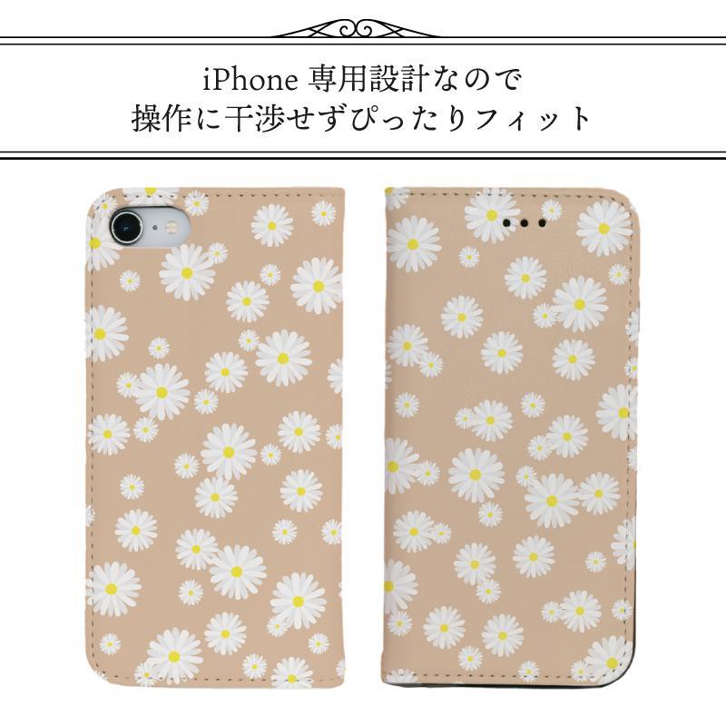 iPhone 手帳型ケース 花柄 マーガレット かわいい iPhone12 mini 12 pro max  iPhone11 pro max SE 第2世代  se2 カバー 北欧風 ピンク 緑 ストライプ|moto84|07