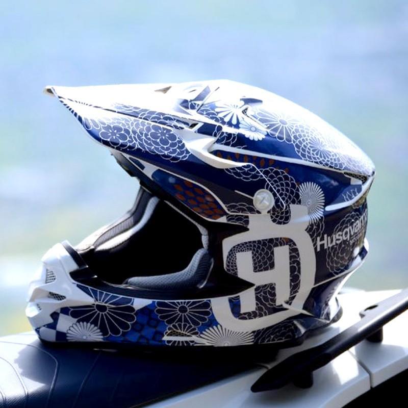 ショウエイ VFX-W VFX-WR アライ V-CROSS4 和柄 オフロードヘルメットデカール(青系)|motocrusader