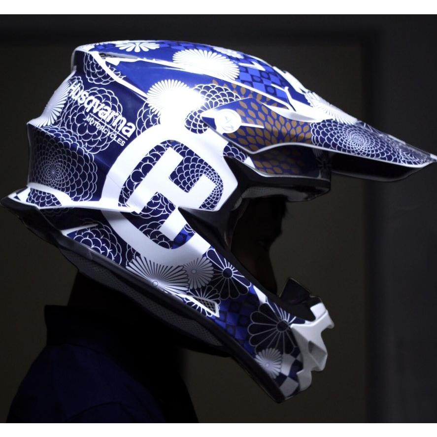 ショウエイ VFX-W VFX-WR アライ V-CROSS4 和柄 オフロードヘルメットデカール(青系)|motocrusader|03