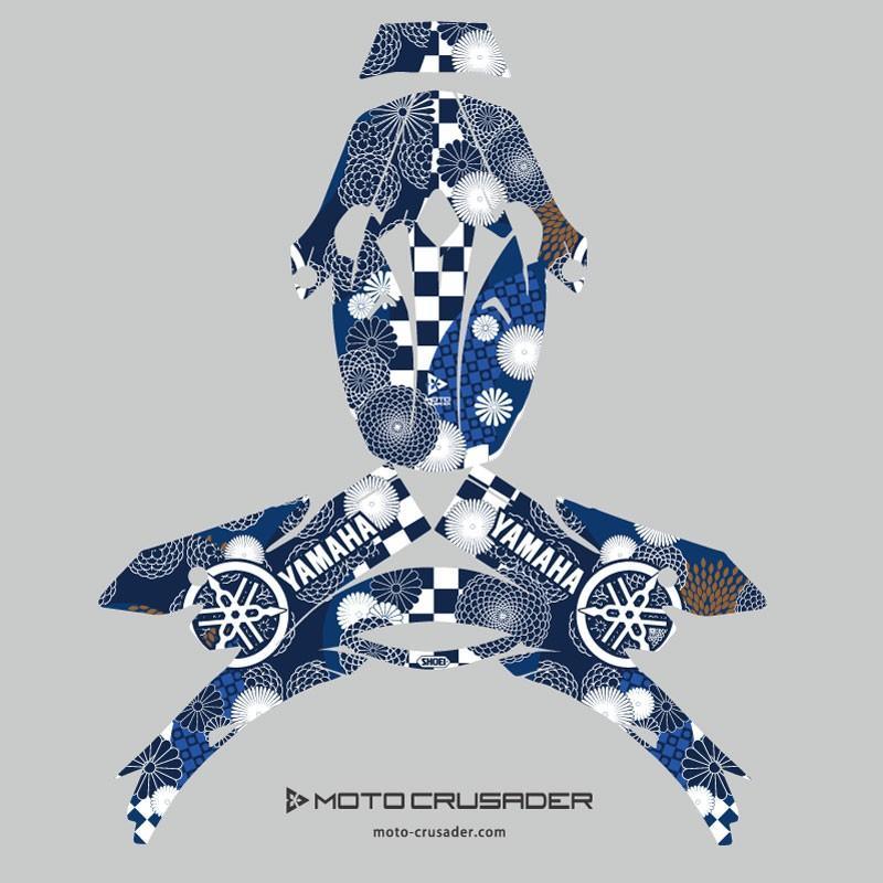 ショウエイ VFX-W VFX-WR アライ V-CROSS4 和柄 オフロードヘルメットデカール(青系)|motocrusader|10