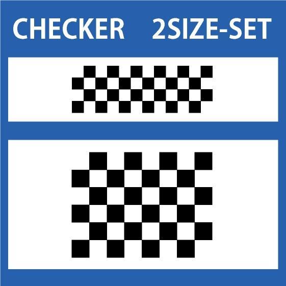 色変更OK ★ 切り文字ステッカー CHECKER  2SIZE-SET  カッティングシート・シール・デカール チェッカー・格子柄・市松模様|motologo