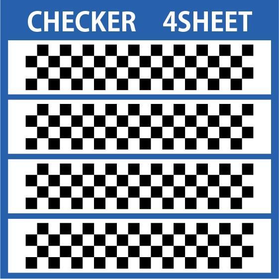 色変更OK ★ 切り文字ステッカー   CHECKER  4SHEET  カッティングシート・シール・デカール チェッカー・格子柄・市松模様|motologo