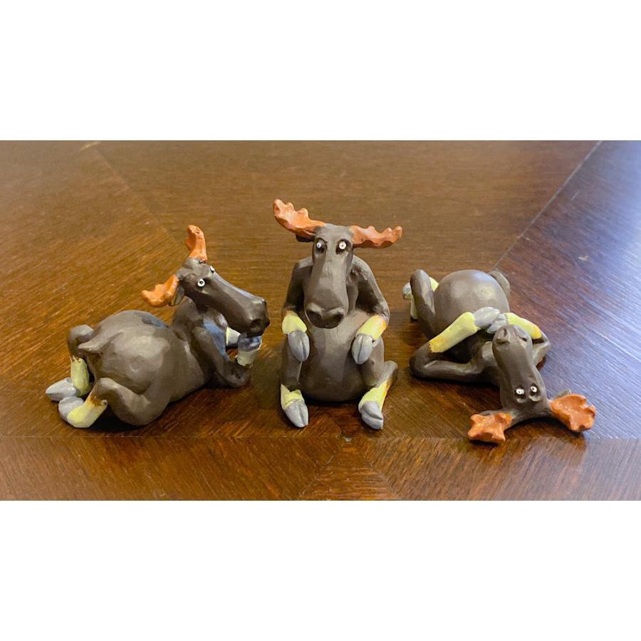 スウェーデン 置物 くつろぐヘラジカ Three small elks 3個セット motomachi-takenaka
