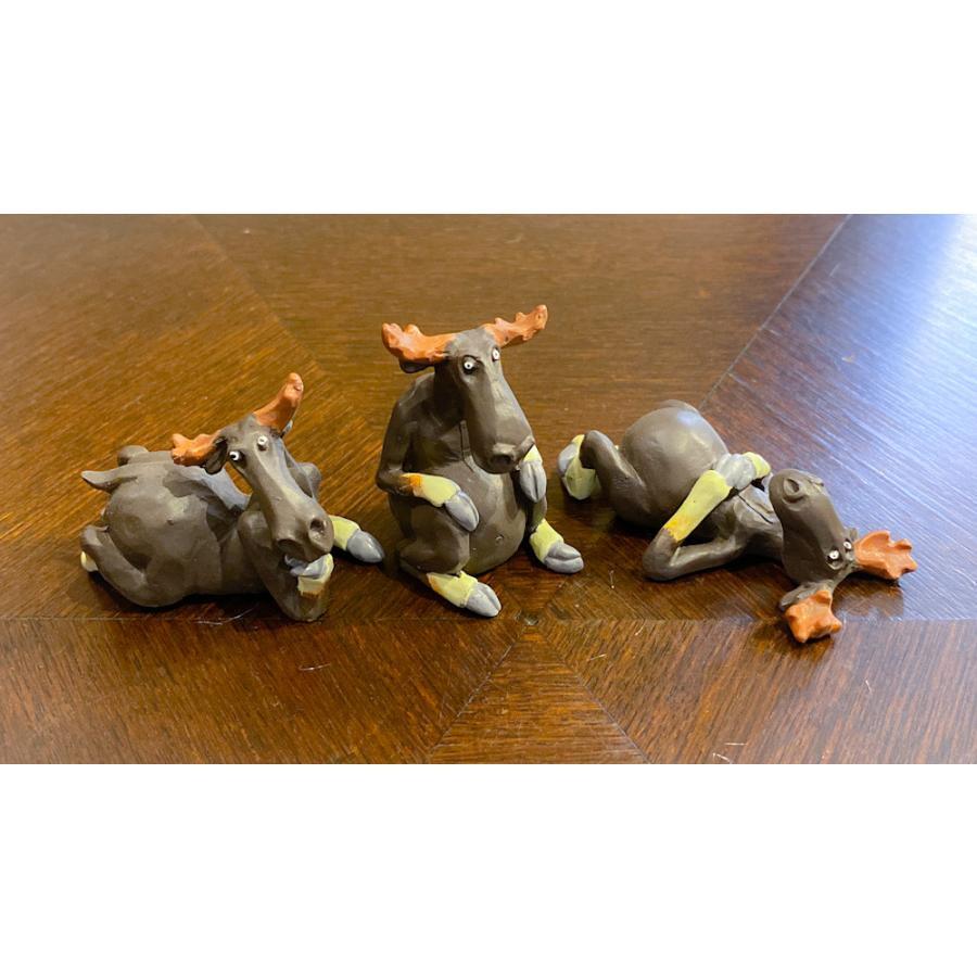 スウェーデン 置物 くつろぐヘラジカ Three small elks 3個セット motomachi-takenaka 02