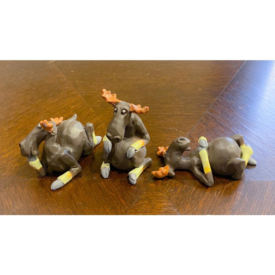 スウェーデン 置物 くつろぐヘラジカ Three small elks 3個セット motomachi-takenaka 03