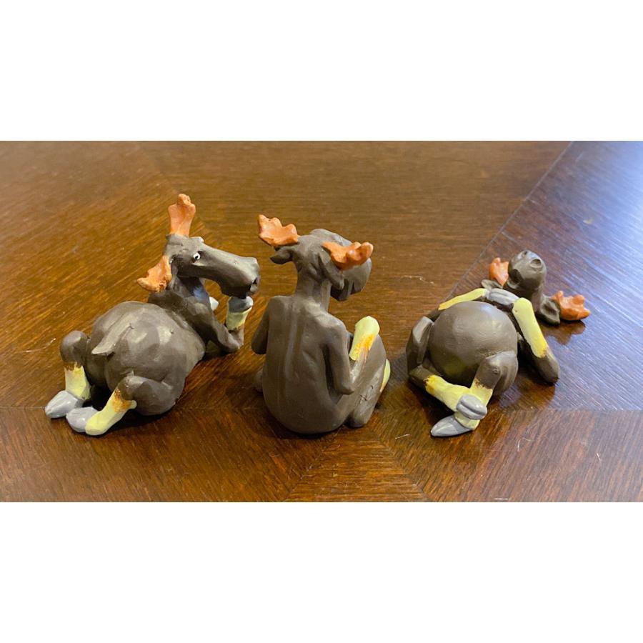 スウェーデン 置物 くつろぐヘラジカ Three small elks 3個セット motomachi-takenaka 04