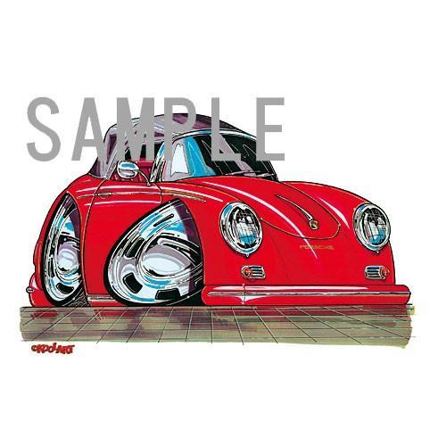 イラスト ポルシェ356(赤)|motorparade|02