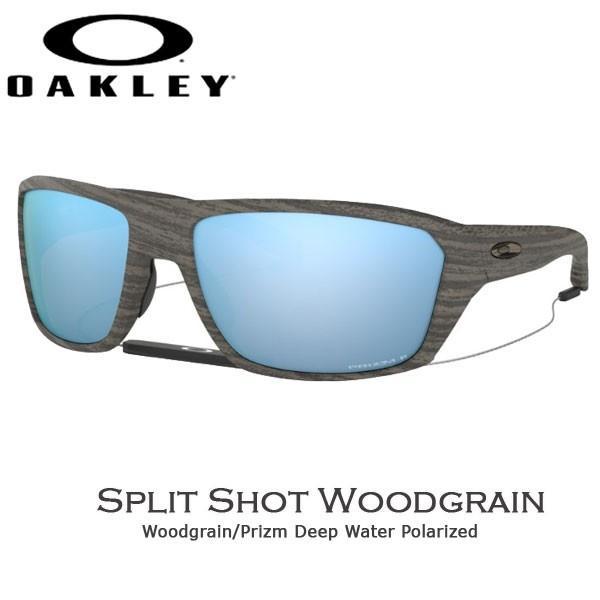オークリー カジュアル サングラス スピリットショット OAKLEY オークリー SPLIT SHOT フレーム Woodgrain レンズ Prizm Deep Water Polarized あすつく