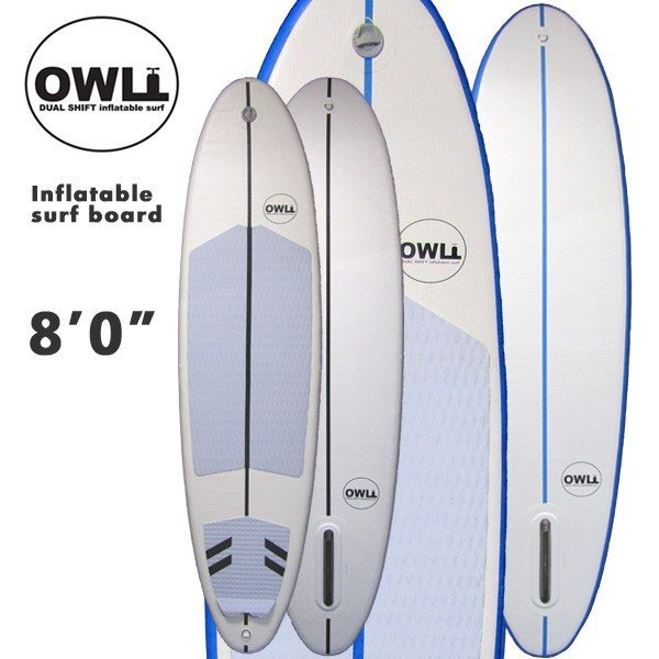 特価ブランド OWL 8'0 DUAL SHIFT INFLATABLE SURF インフレータブル サーフボード SINGLE FINモデル フィン付 エアーサーフボード, 上昇気流 1cb081e6