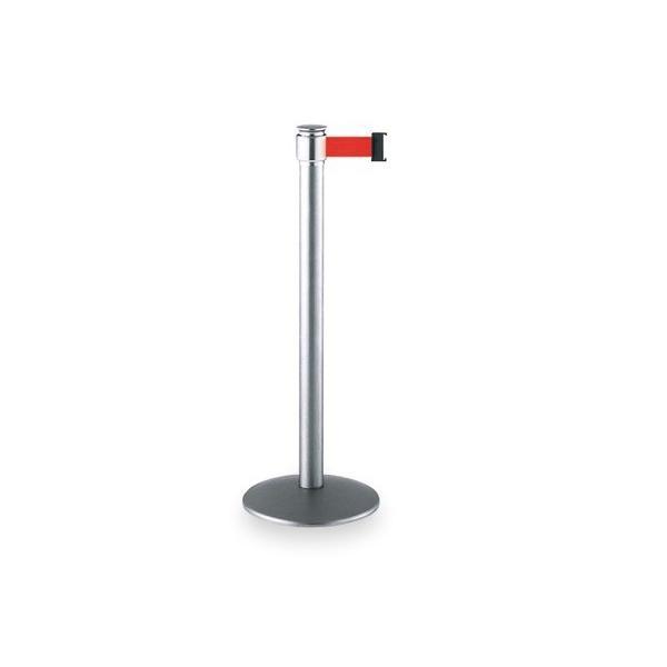 ベルトガイドパーテーション ステン S&C ベルト赤 サイズ:約φ330(支柱φ60.5)×H900mm 重量:約7.9kg