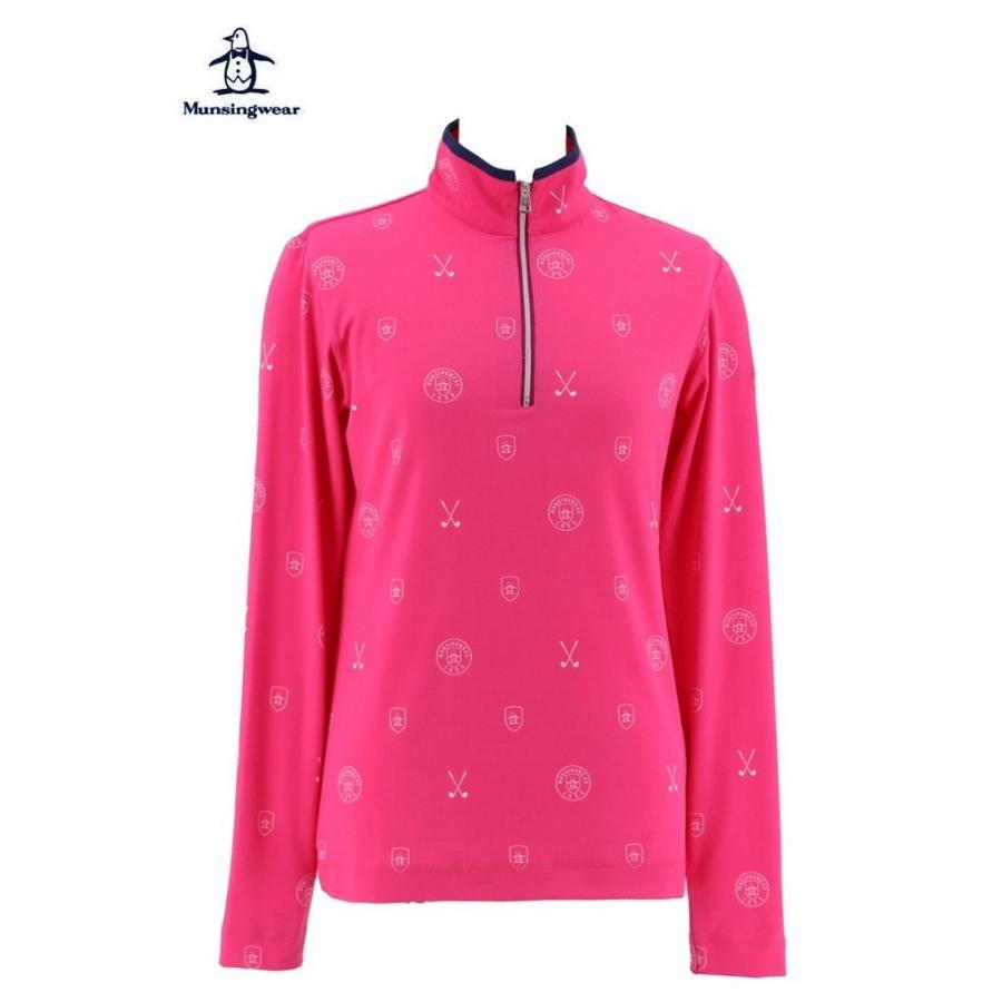 マンシングウェア レディース 長袖ハイネック ジップアップシャツ ピンク 2018秋冬物 MGWMJB07PK00