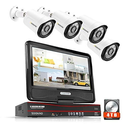 5MP·AI人体検出SOOHAO 防犯カメラ 屋外 poe 有線 500万画素 監視カメラ 4台 10インチモニター付き 防犯カメラセット