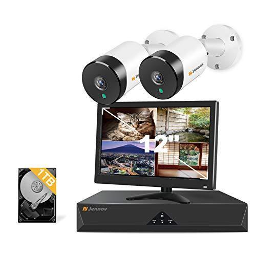 JENNOV 防犯カメラセット 室内/屋外対応 POE給電 ハイビジョン 500万画素 マイク付き 音声録画 2台 NVR 増設可能 IP6
