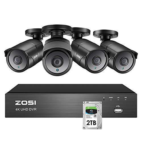 ZOSI 4K Ultra HD 800万画素 防犯カメラセット 4台セット 8CH H.265+ 4K (3840x2160)800万画素