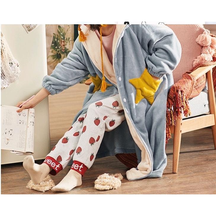 着る毛布 ロング 防寒 ルームウェア レディース 冬 暖かい パジャマ あったか 部屋着 もこもこ フード付き 秋冬 ワンピース 無地 洗える 着ぐるみ パジャマ|mrt24|05